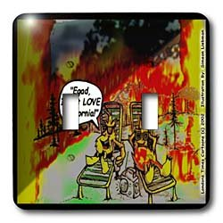 Londons Times Funny Music Cartoons - HOT Vacations In California - Light Switch Covers - double toggle switch