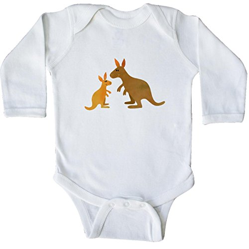 Inktastic Unisex Baby Kangaroo family Long Sleeve Creepers 12 Months White (Australian Clothes compare prices)