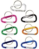 """New 6pc 2"""" (50mm) Aluminum Carabiner D-ring Key Chain Clip Hook Assorted Colors"""