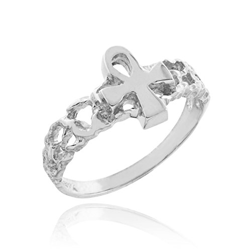 Solid-10k-White-Gold-Nugget-Band-Egyptian-Ankh-Cross-Knuckle-Ring