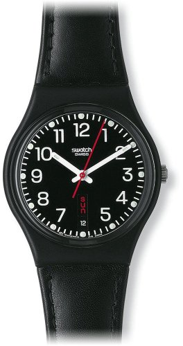 Swatch Unisex Red Sunday Black Dial and Leather Strap Watch