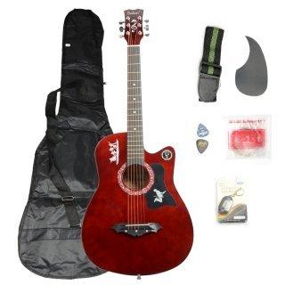 Moppi DK – 38C Basswood Gitarre Kaffee mit Tasche Riemen nimmt LCD Tuner Pickguard String günstig bestellen