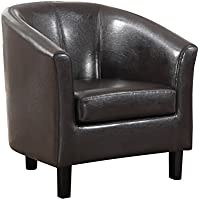 Simpli Home Austin Faux Leather Accent Tub Chair (Dark Brown)