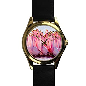 Special Design Beaituful Pink Flamingos, Love Flamingos Unisex Gold-tone Round Metal Watch, Metal watch with black leather watchband