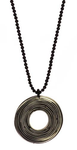 3-4mm Black Onyx Necklace with Aluminum Bead, 32