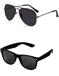 SHEOMY COMBO OF STYLISH BLACK AVIATOR AND MATTE BLACK WAYFARER SUNGLASSES (Violet) WITH 2 BOX - B01N5NJULG