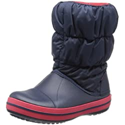 Crocs Winter Puff Unisex - Kinder Warm Schneestiefel, Blau (Navy/Red 485), 32/33 EU