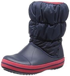 crocs Kids\' Winter Puff Boot (Toddler/Little Kid),Navy/Red,6 M US Toddler