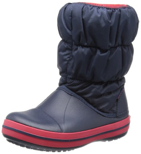 Crocs Winter Puff Unisex - Kinder Warm Schneestiefel, Blau (Navy/Red 485), 24/25 EU (C8 Unisex-Kinder UK)