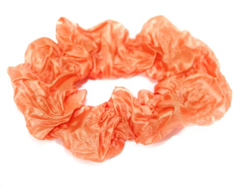 Pastel Coloured Crinkle Fabric Hair Scrunchie/Tie In Orange
