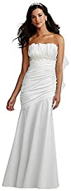 Ruched Strapless Wedding Dress with D…