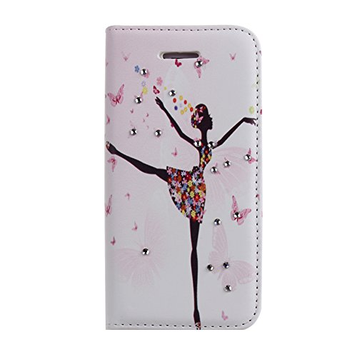 IKASEFU(TM) Flower Girl Series PU Leather Folio Wallet Bling Case Soft Silicone TPU Inner Cover with Stand, Credit Card Holders and Diamond Rhinestone for iPhone 5 5S (Dancing Girl)