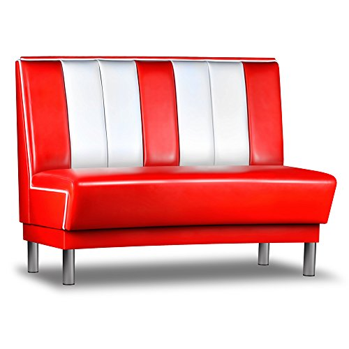 Dinerbank-AMERICANO-Gastro-Retro-Mbel-Sitzbank-Polsterbank-USA-Style-Dinermbel-Rot-Weiss-120cm