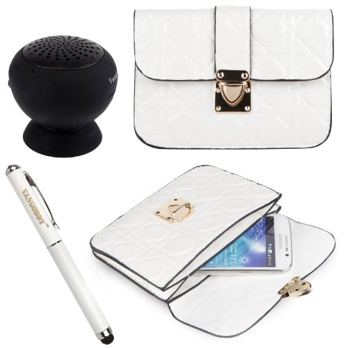 Quilted Pu Leather Cell Phone Bag Pouch Case For Verizon Wireless Casio G'Zone Commando 4G Lte Smartphone + Stylus Pen + Black Bluetooth Speaker (White)