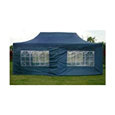 NEW WATERPROOF 3M X 6M POP UP TENT GAZEBO MARQUEE PARTY TENT INC CANOPY+ 4 SIDES (BLUE)
