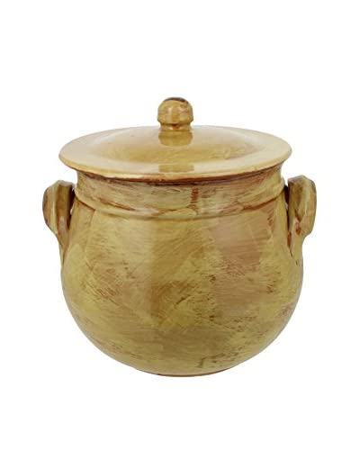 French Home Italian Stoneware 5.25-Quart Round Traditional Stock Pot, 8-Inch by 10-Inch, Saffron Yel...