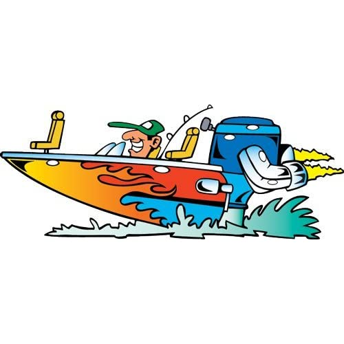 Amazon.com: Vehicle Wall Decals - Cartoon Flaming Bass Boat - 36 inch