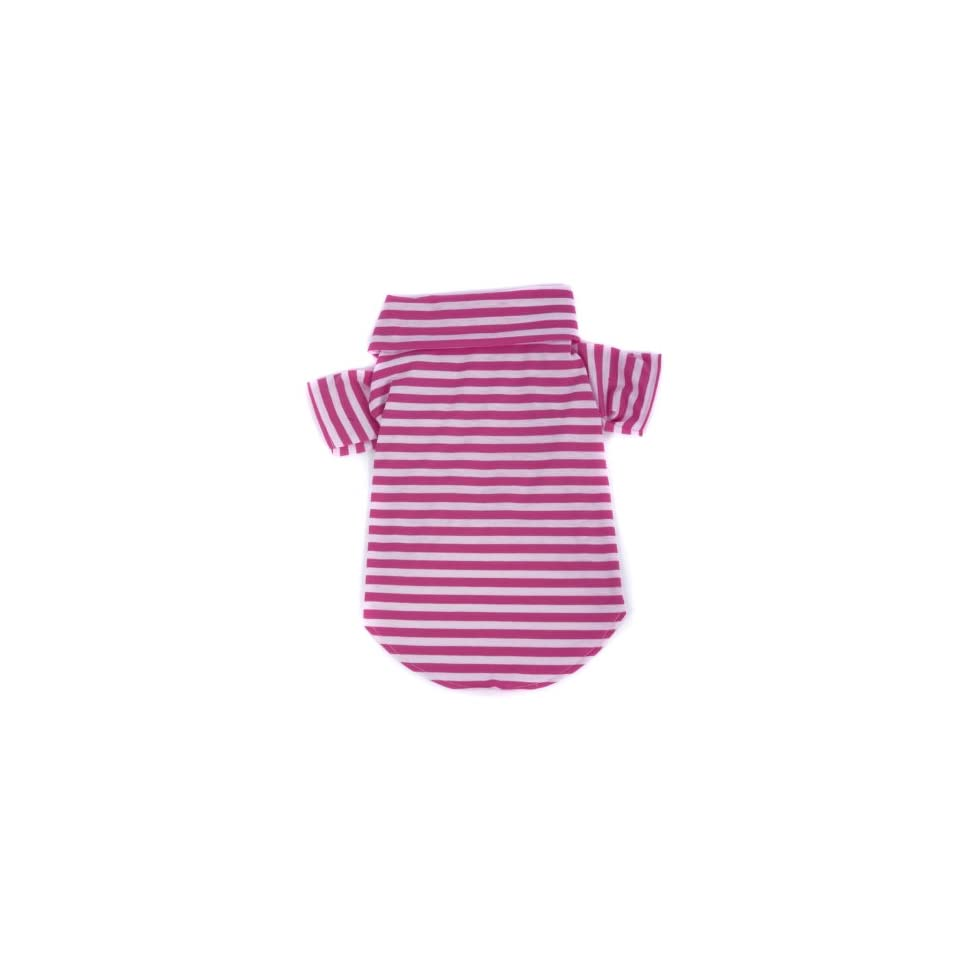 Favorite Classic Striped Dog Polo Shirt Cotton Cozy Dog Clothes (Amaranth, XXS)  Pet Costumes