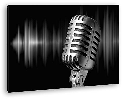 Mikrophon-mit-Farbiger-Soundspur-Effekt-SchwarzWei-als-Leinwandbild-Motiv-fertig-gerahmt-auf-Echtholzrahmen-Hochwertiger-Digitaldruck-mit-Rahmen-Kein-Poster-oder-Plakat