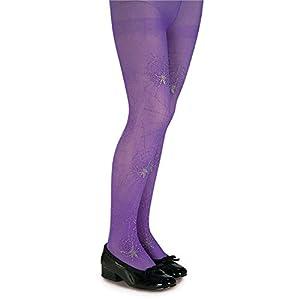 Girls Purple Glitter Spider Tights - Child Large
