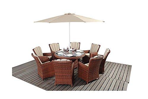 Manhattan braun Rattan Gartenmöbel 8Sitzer rund Esstisch Stühle, Set