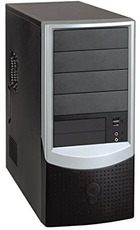 OEM - Foxconn S-809 Micro ATX Midi Tower PC Case (Black/Silver) with 350W Power Supply