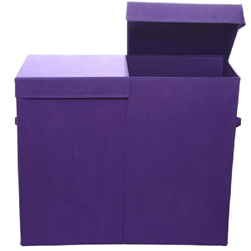 For Sale! Modern Littles Color Pop Solid Folding Double Laundry Basket, Purple