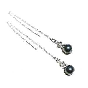 Sterling Silver Pull Through Earrings w/ Swarovski Pearls & Crystals - Dark Teal & Grey 92mm