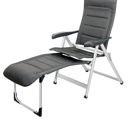 Bel-sol nr. 1–fauteuil pliant-sévère sTABIELO de cAMPING pliante avec coussin et lombes réglables dossier haut avec appuie-tête rembourré, 12,8 kg-matériau léger-anthracite-charge max. :  120 kg-distri