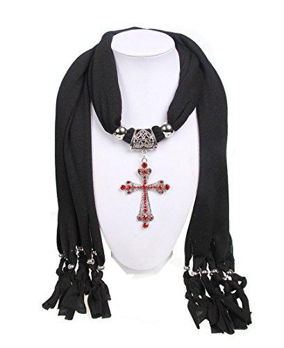 wishcart® rosso diamante croce collana pendente sciarpa donne sciarpe Black Taglia unica