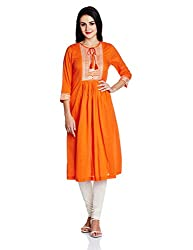 Rain and Rainbow Women's A-Line Kurta (44006-02_ORANGE_small)