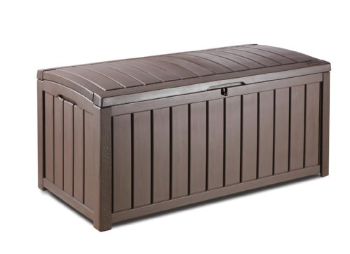Keter Glennwood 17193522 Storage Box 390 L Wooden Finish Plastic Brown