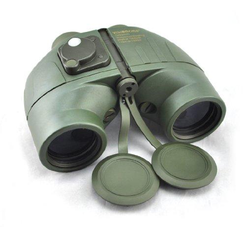 Visinking 7X50 Floating Waterproof Binoculars With Compass & Range Finder Marine Color Green
