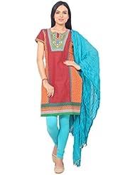 Designer Red & Orange Color Embroidered Kurti With Sky Blue Color Premium Quality Legging And Dupatta Set.