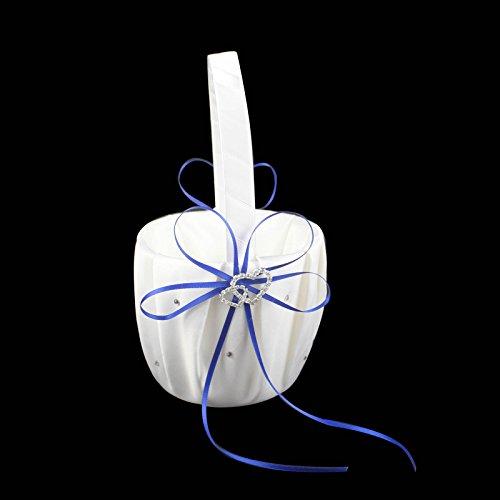 OurWarm® 1 Flower Girl Basket ,Decor w/ Royal Blue/Deep Blue Ribbon Bowknot, Double Heart Diamante Crystal Rhinestone Buckle, Rustic,Elegant Wedding Ceremony Party Favor (Flower Girl Basket Blue compare prices)
