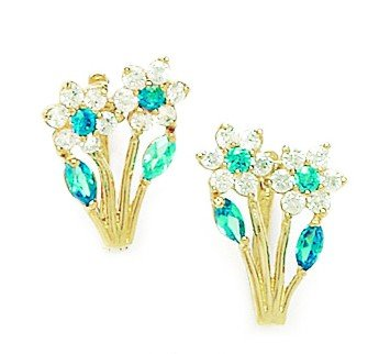 14ct Yellow Gold Decmbr Brthstone Blue CZ 2-flowers Leaf Leverback Earrings - Measures 16x10mm