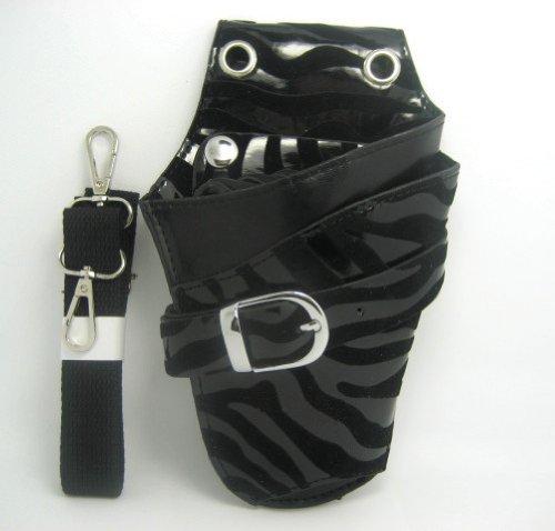 T&Y シザーケース 美容師 トリマー プロ用 4丁入 レザー シザーバッグ ケース ブラック ゼブラ TYー14ー019