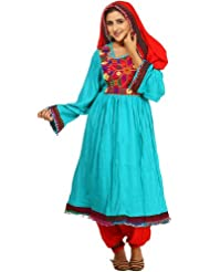 Exotic India Turquoise And Red Flaired Suit From Afghanistan With Th - Turquoise