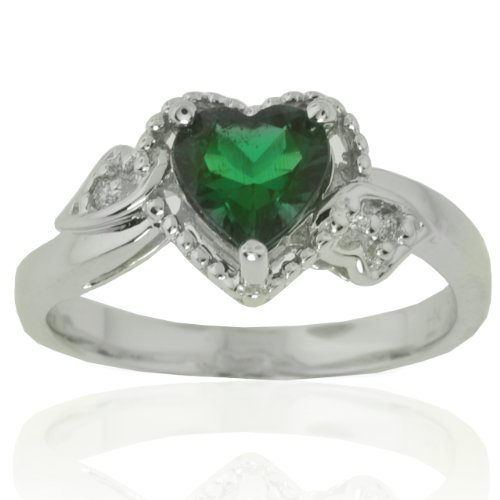 14k White Gold Heart Created Emerald and Diamond Ring (0.02 cttw, I-J Color, I1 Clarity)