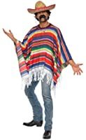 Bristol Novelty New Mens Traditional Mexican Poncho Fancy Dress Costume Adults Outfit