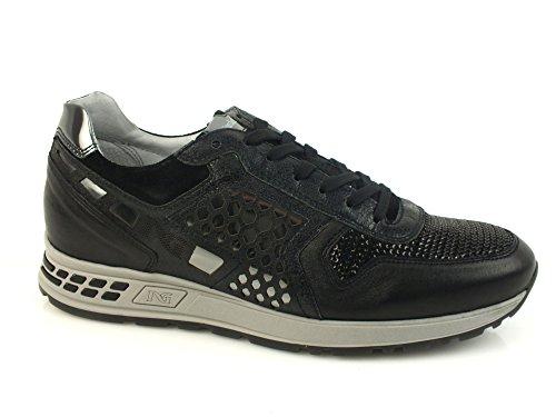 NERO GIARDINI Sneaker lacci donna PELLE OLD IRON NERO A616182D 38