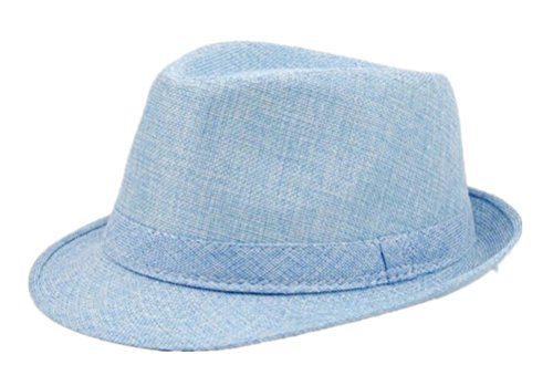 [GAMT Women Men Linen Fedora Short Brim Cap Jezz Sunhat Blue] (Pork Pie Hat For Sale)