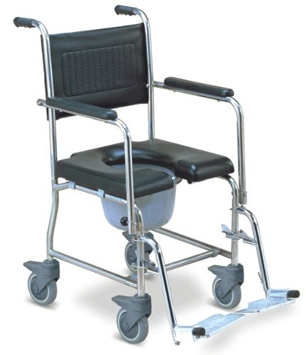 MedMobile 2-in-1 Stainless Steel Shower and Commode Wheelchair
