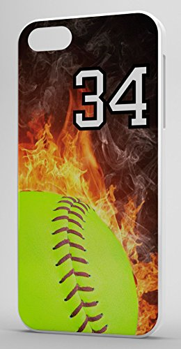 iPhone 5c Case Softball Flaming Fire Any Custom Jersey Number 34 White Rubber (Iphone 5c Case Softball Pitcher compare prices)