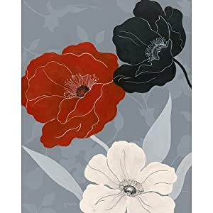 (22x28) Janet Tava Black Red and White on Grey II Art Print Poster