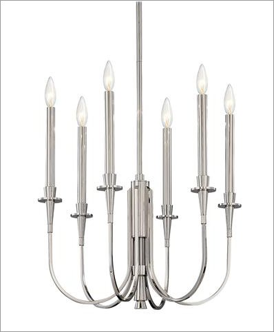 Heirloom Six Light Candle Chandelier Finish: Satin Nickel