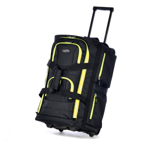 Olympia 22 Inch 8 Pocket Rolling Duffel, Black/Yellow, One Size