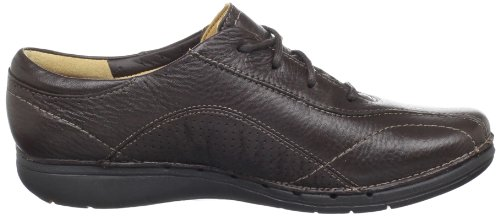 pictures of Clarks Women's Un.Sound Lace-Up Flat,Brown Leather,8.5 M US