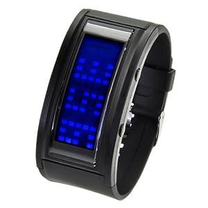 IDEALTIME スクロール LED ウォッチ メンズ 腕時計 ブルーLEDブラックラバー