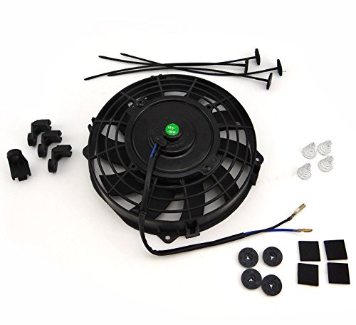 Universal 7 inch Black Slim Fan Push Pull Electric Radiator Cooling 12V 80W Mount Kit (8 Fan Radiator compare prices)